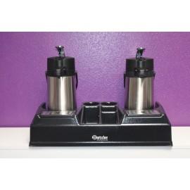 Présentoir à café/thé avec 2 thermos (2 litres chacune)L66 P33 x H45 cm. Consommable à commander en  supplément.