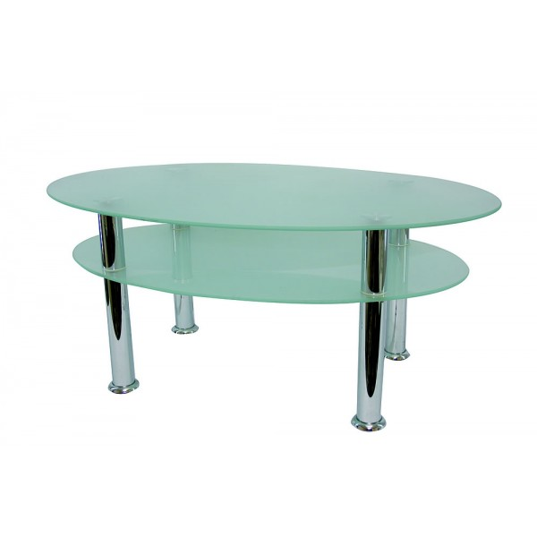 Table ovale en verre 100 x 60 cm -