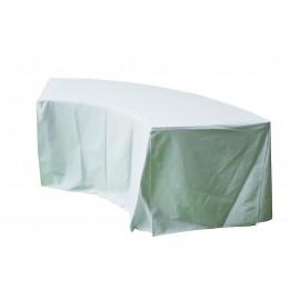 Nappe blanche juponnée pour table 1/4 rond